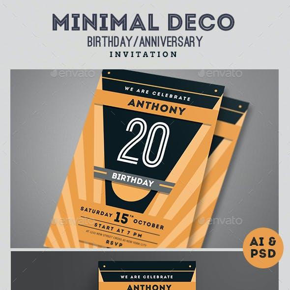 Minimal Deco Anniversary,birthday Invitation