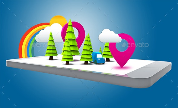 Concept Mobile GPS Location - Technology 3D Renders