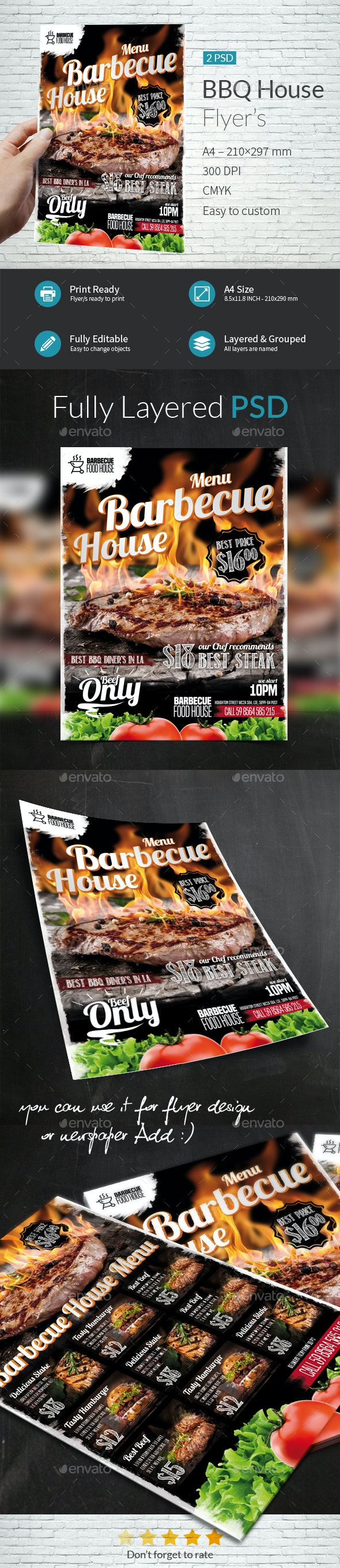 BBQ House Menu A4 Flyer Template - Flyers Print Templates