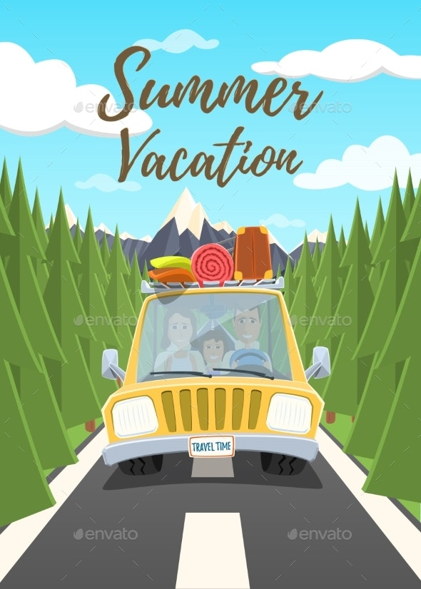 Summer Vacation Poster - Travel Conceptual