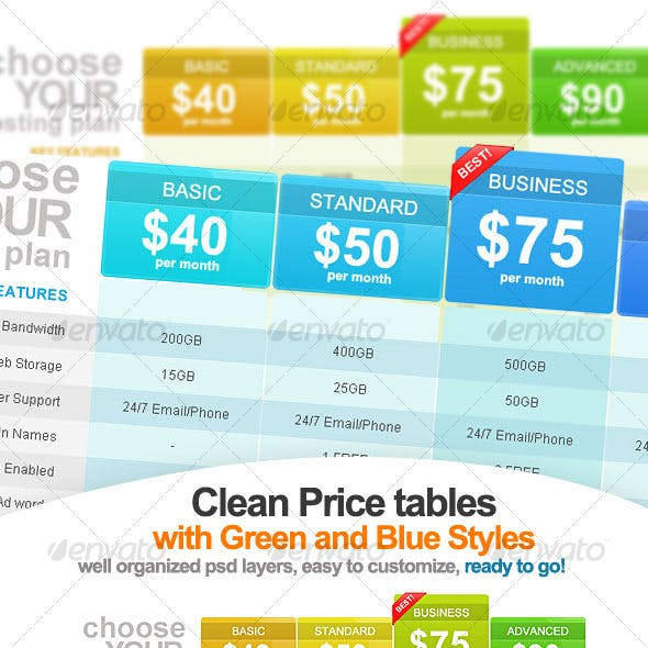 Clean and Clear - 2 Pricing Table Designs # eL013