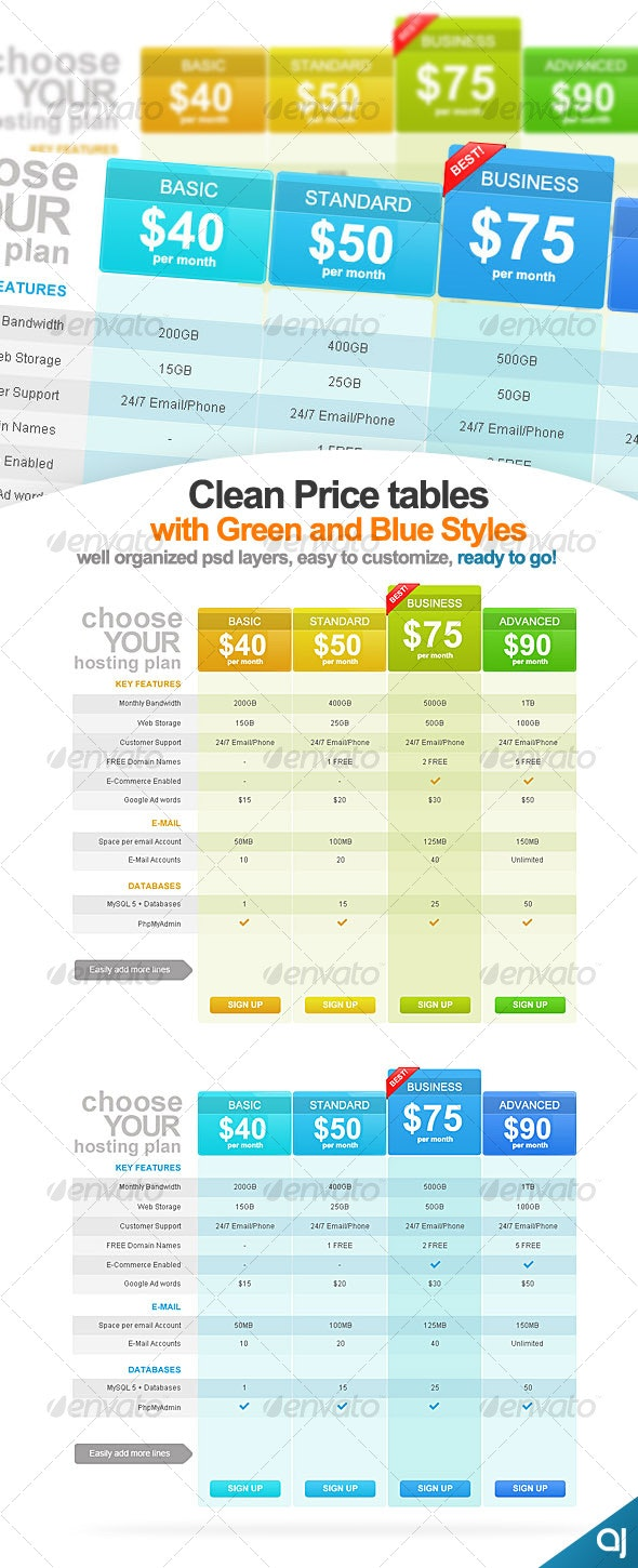 Clean and Clear - 2 Pricing Table Designs # eL013 - Web Elements