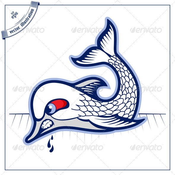 Bad Fish In Cartoon Vector Style  - Animals Characters