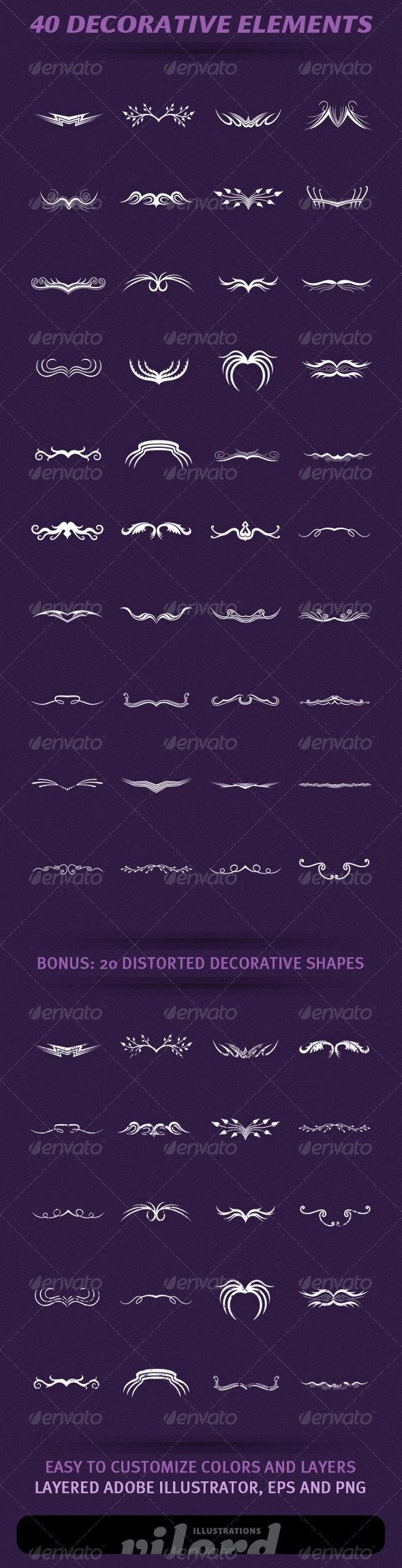 40 Decorative Elements - Decorative Vectors
