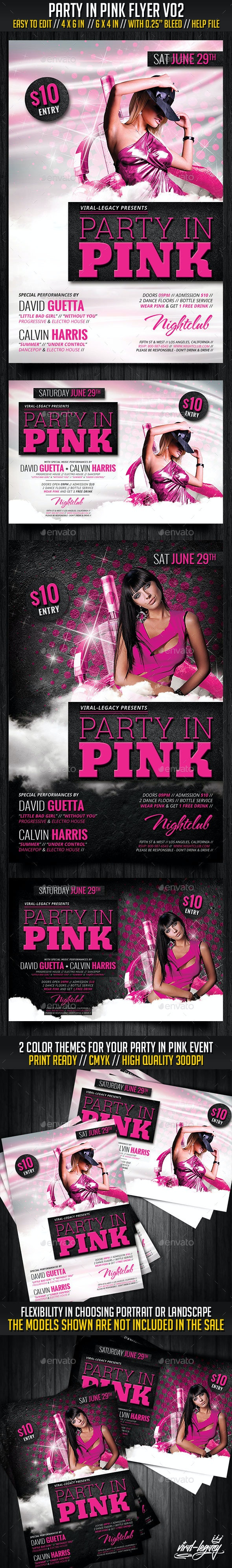 Party In Pink Flyer V01 - Clubs & Parties Events