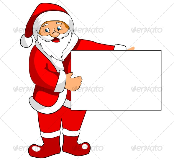 Santa Claus with blank paper - Christmas Seasons/Holidays