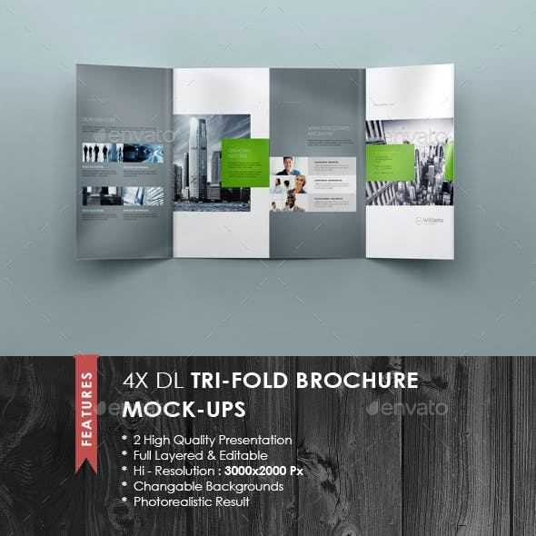 4xDL Double Gate Fold Brochure Mock-up 3