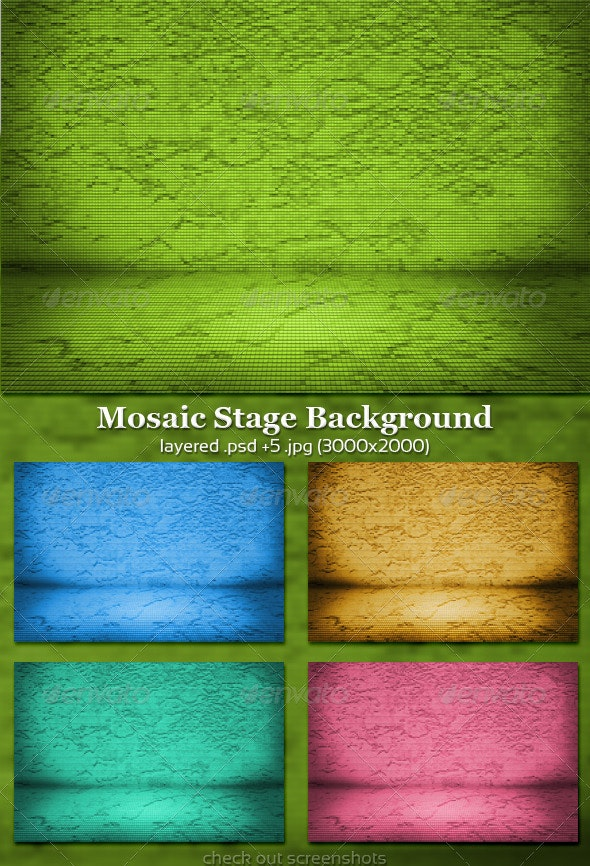 Mosaic Stage Background - Backgrounds Graphics