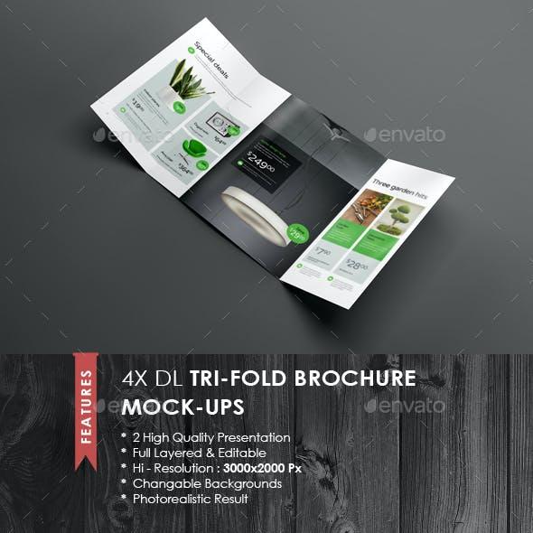 4xDL Double Gate Fold Brochure Mock-up 4