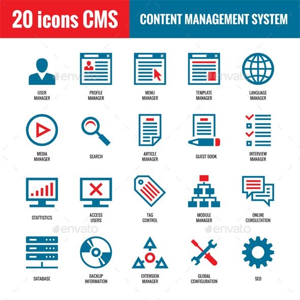 20 Icons CMS - Content Management System - Web Icons
