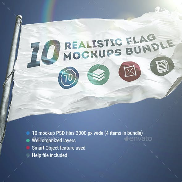 10 Realistic Flag Mockups Bundle