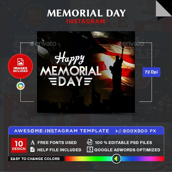 Memorial Day Instagram Templates - 10 Designs - Images Included