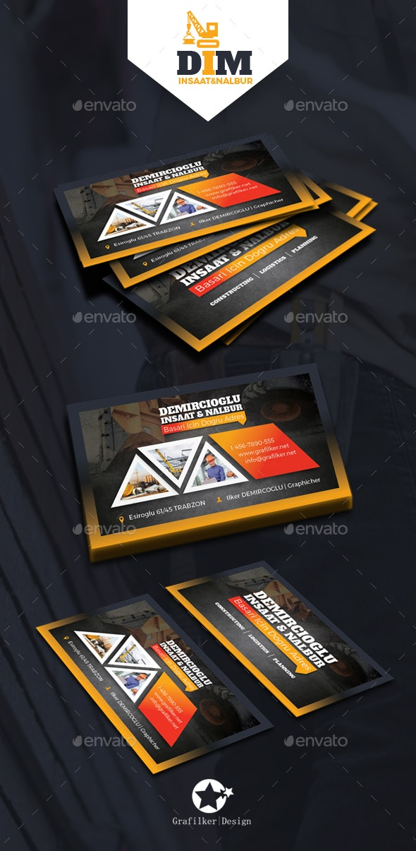 Construction Business Card Templates - Corporate Business Cards
