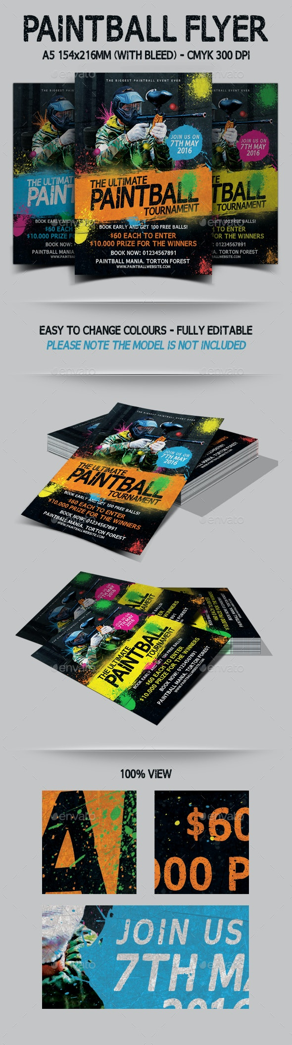 Paintball Tournament Flyer Template - Events Flyers