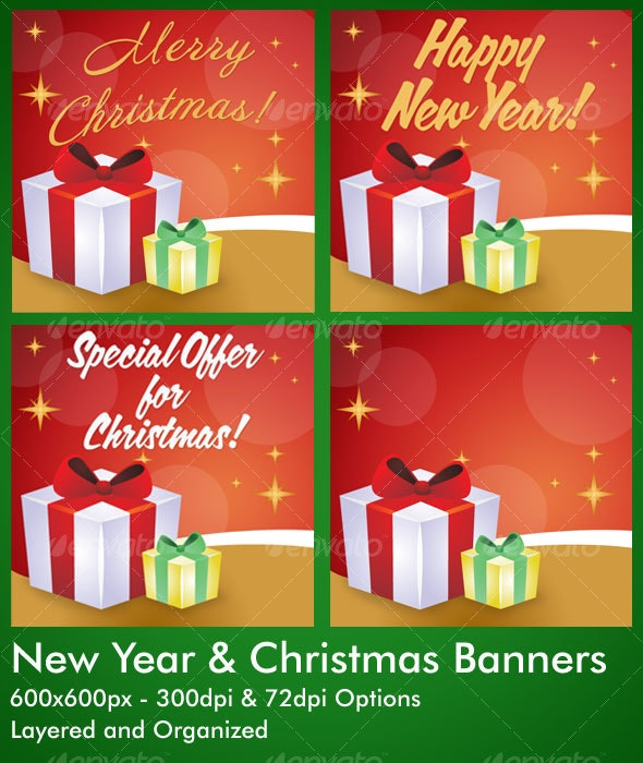 New Year and Christmas Banners - Miscellaneous Web Elements