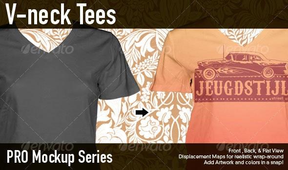Pro Mockup : Ladies V Neck Tees - T-shirts Apparel