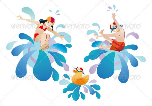 Little Girl And Boy Jumping Into A Pool - People Characters