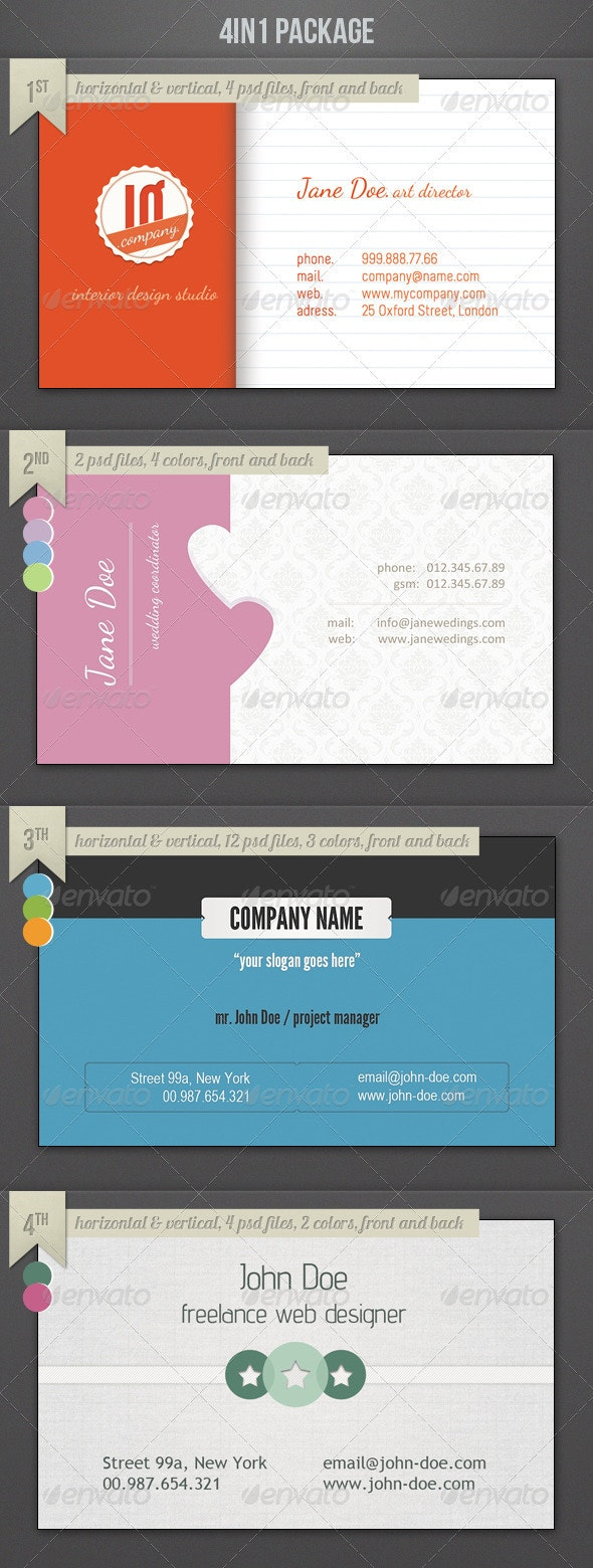 4in4 Business Cards Package - Creative Business Cards