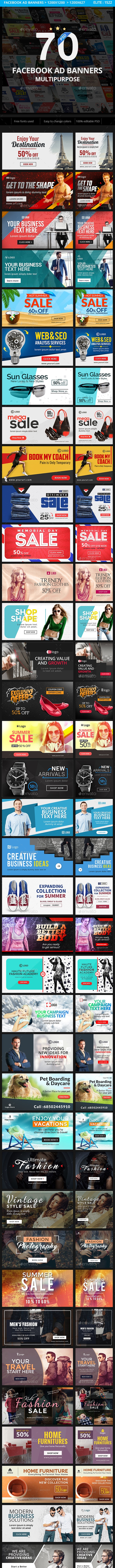 Multipurpose Facebook Ad Banners - 70 Designs - Social Media Web Elements