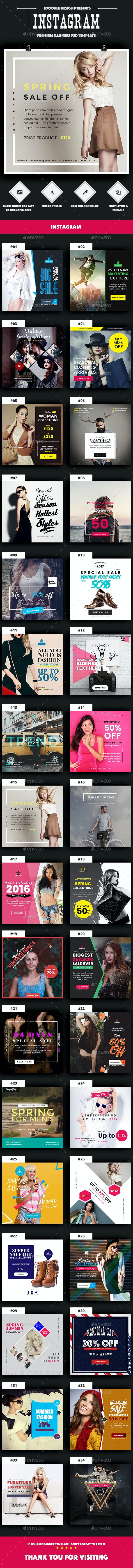Promotion Instagram Banners Ad - 34 PSD [Update New Size] - Miscellaneous Social Media