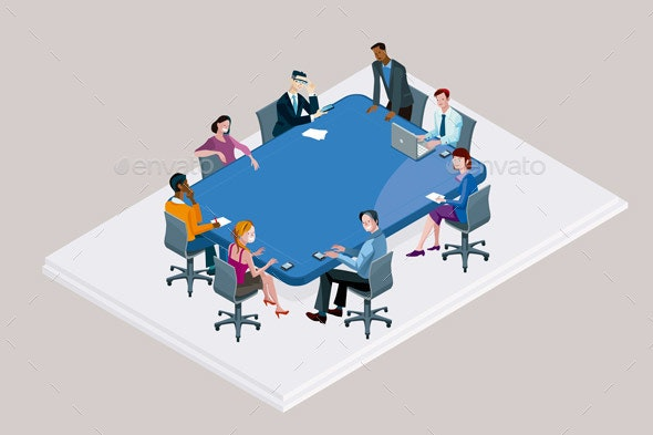 Office Meeting around a Conference Table