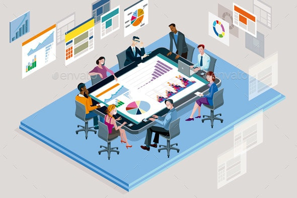 Office Meeting with a Big Tablet - Concepts Business