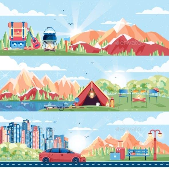Set Of Day Landscape, Mountains, Sunrise, Travel