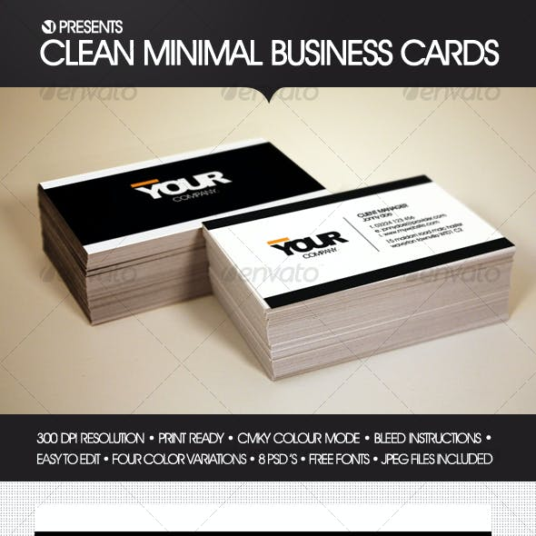 Clean Minimal Business Cards (4 Color Variations)