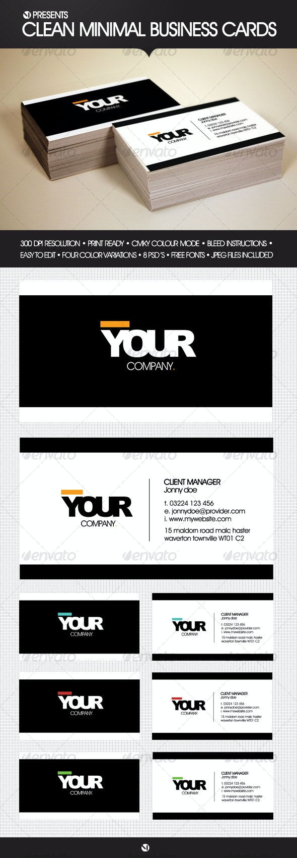 Clean Minimal Business Cards (4 Color Variations) - Corporate Business Cards