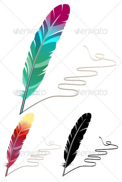 Many-coloured feather isolated on white background - Man-made Objects Objects