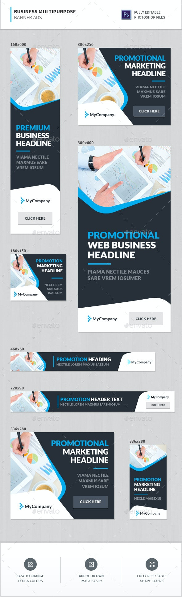 Business Multipurpose Banner Ads - Banners & Ads Web Elements