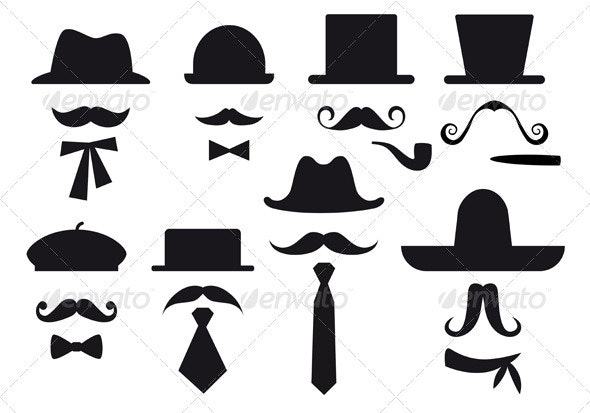 Mustache And Hats, Vector Set - Man-made Objects Objects