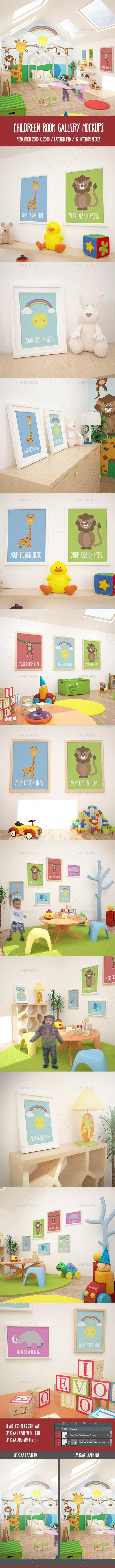 12 Children Room Gallery MockUPs Pack - Product Mock-Ups Graphics