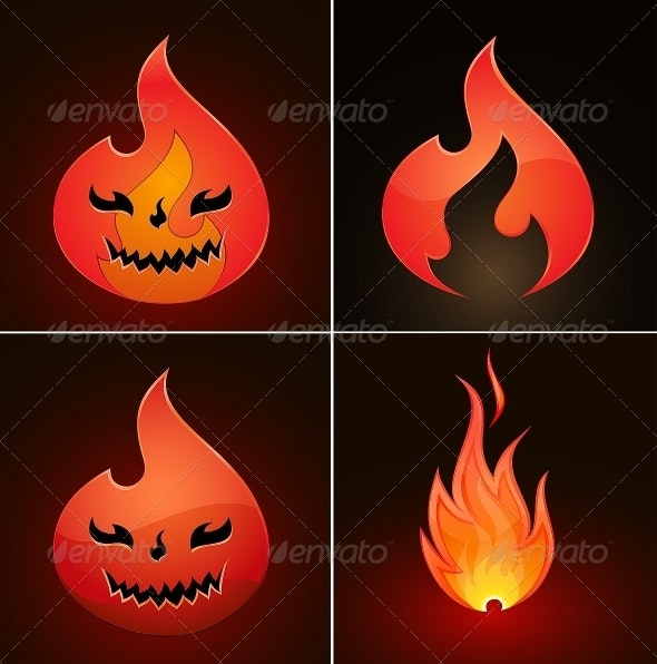 Vector Fire Icons - Decorative Symbols Decorative