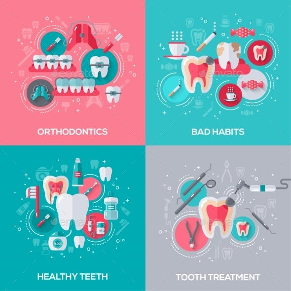Dentistry Banners Set with Flat Icons