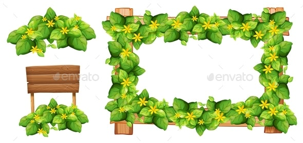 Frame Design with Flowers and Leaves