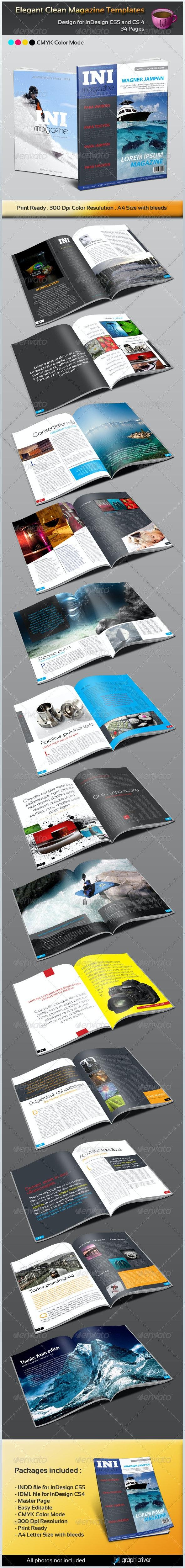 Elegant Clean Magazine Template - Magazines Print Templates