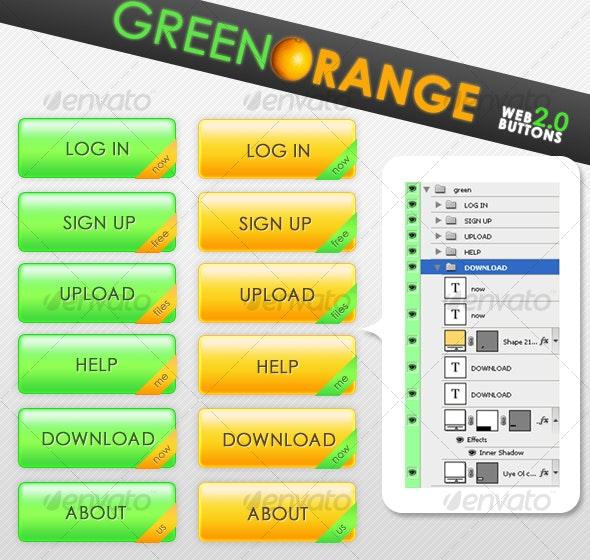 Green Orange Web 2.0 Buttons - Buttons Web Elements