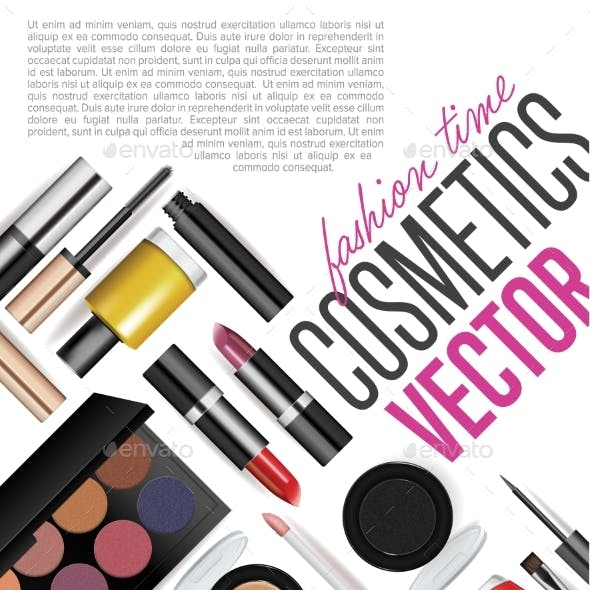 Makeup Cosmetics Tools. Fashion Vector Background.