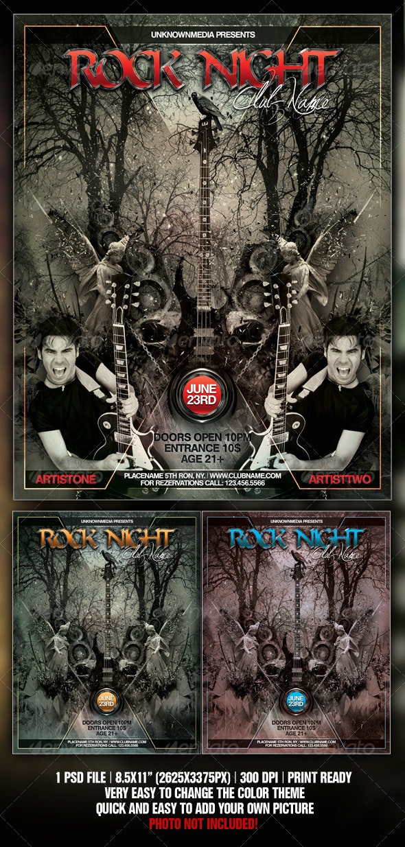 Rock Night Club Party / Concert Flyer / Poster  - Concerts Events