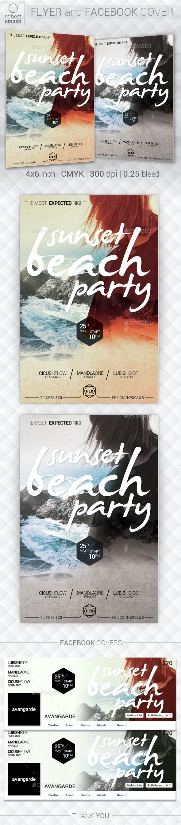 Sunset Beach Party Music Flyer - Clubs & Parties Events