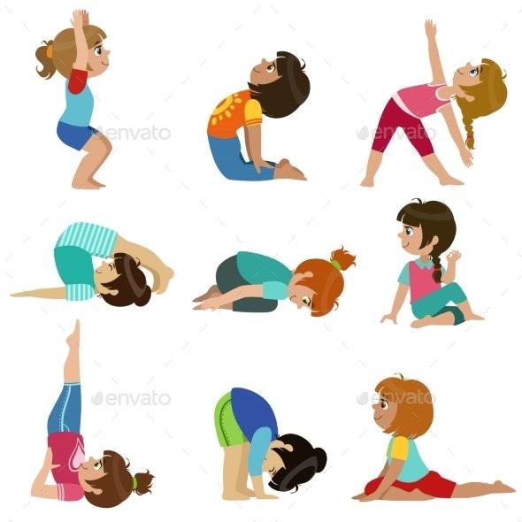 Little Girls Doing Yoga Set
