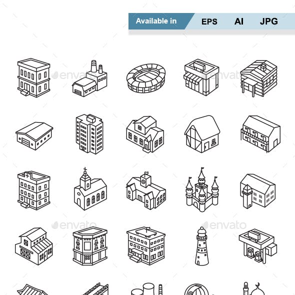 Buildings Outlines Vector Icons