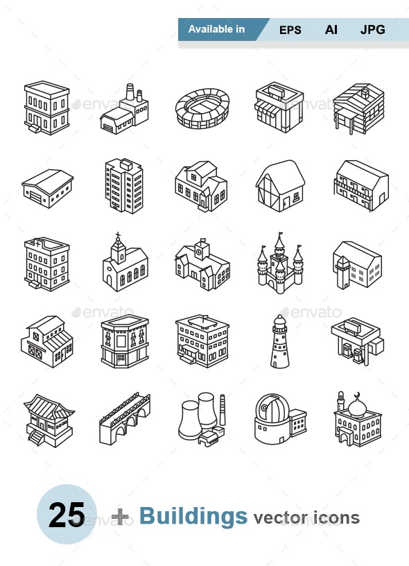 Buildings Outlines Vector Icons - Buildings Objects