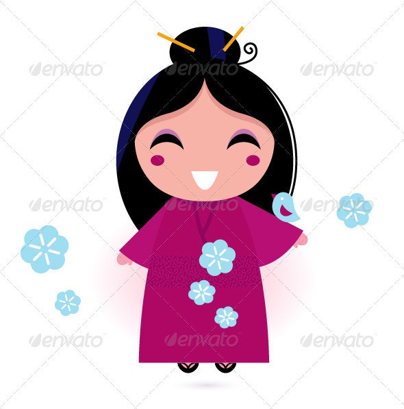 Geisha woman in pink kimono isolated on white - Characters Vectors