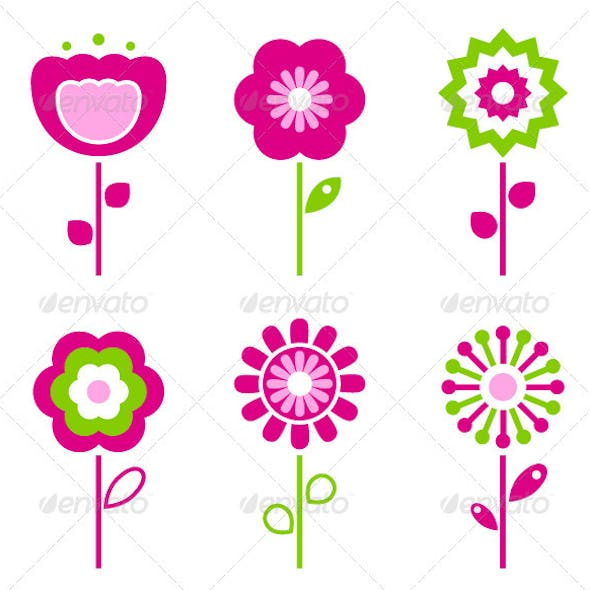 Set of retro flower elements for easter - spring