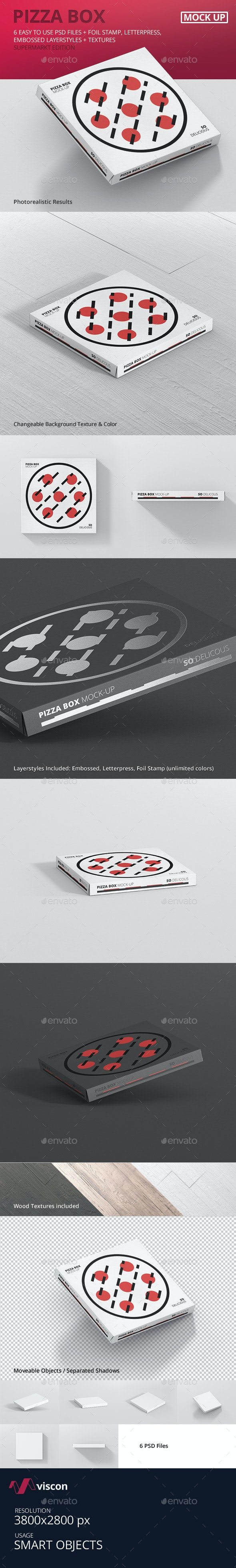 Pizza Box Mock-Up - Supermarket Edition - Food and Drink Packaging