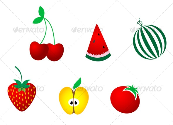 Icons of fresh fruits - Food Objects
