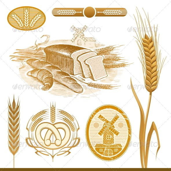 Vector Set: Bread and Wheat
