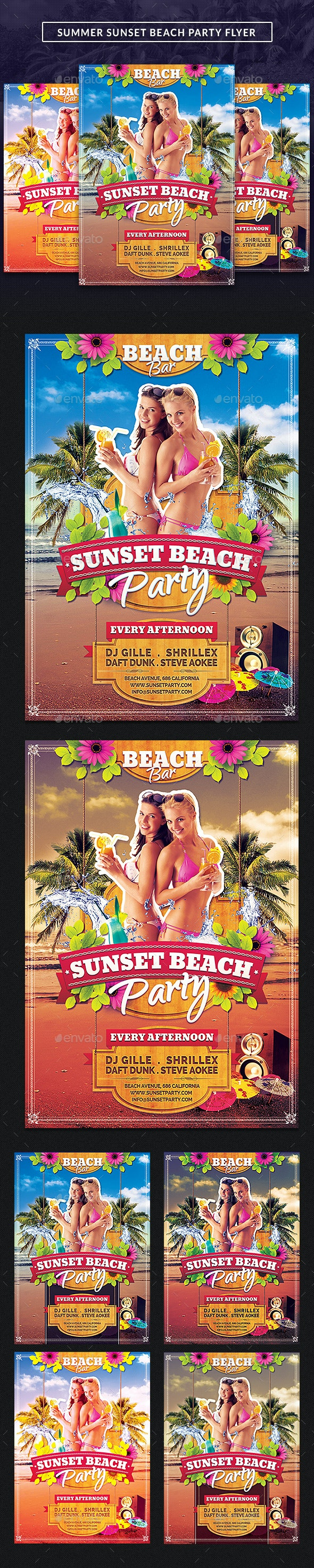 Summer Sunset Beach Party Flyer - Clubs & Parties Events